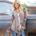Горячая Новая Мода Европа Женщины С Длинным Рукавом Кардиган Геометрическая Вязание Лоскутное Передняя Открыть Асимметричная Хем Тонкий Верхней Одежды