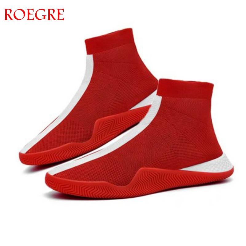 Mens Fashion Socks Shoes Man Sneakers Male Flying Running Shoes Casual Walking Shoe Footwear Autumn 2019 Black White Red Shoes