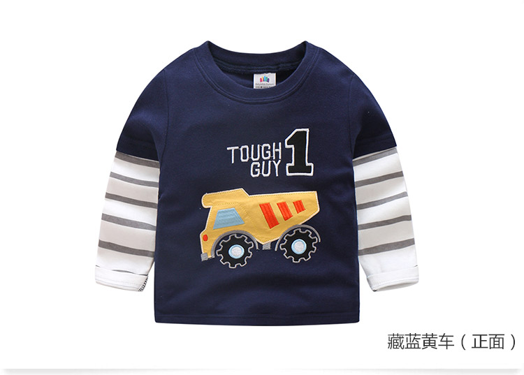 2018 Spring Autumn For 2-9 10 Years Children Cotton Striped Patchwork Cartoon Car Bus Truck Baby Kids Boys Long Sleeve T Shirts (50)