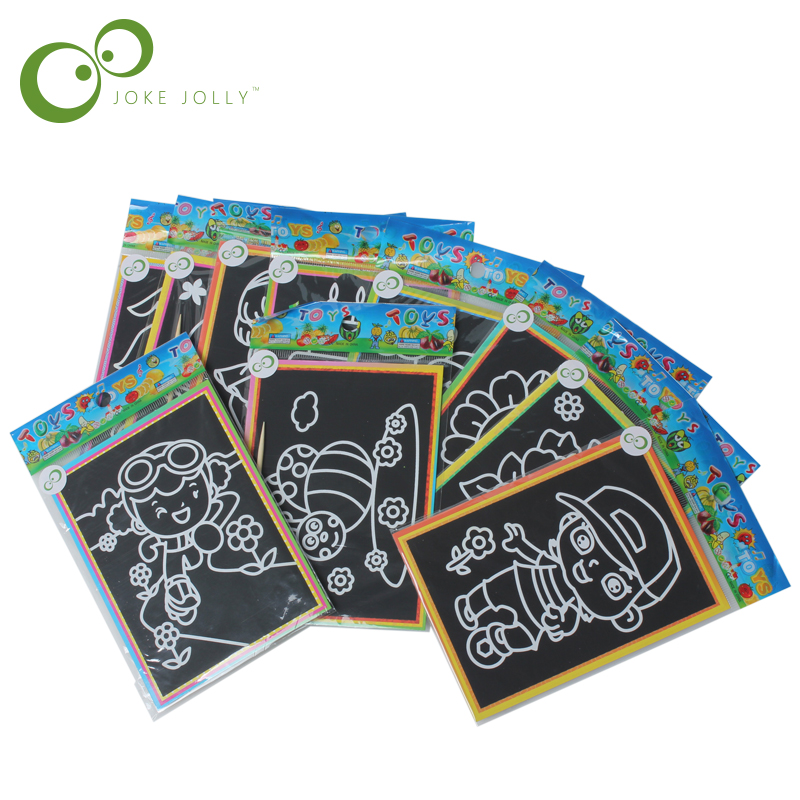 6pcs Child Kids Magic Scratch Art Doodle Pad Painting Card Educational Game Toys Early Learning Drawing Toys ,1LOT=6 Designs S