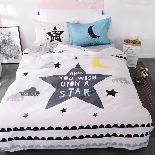 estilos de algodn reina juego de cama infantil unids estrella blanca hoja de