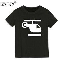 Детская футболка с принтом вертолета футболка для мальчиков и девочек, детская одежда для малышей Забавные футболки Прямая поставка, Y-26