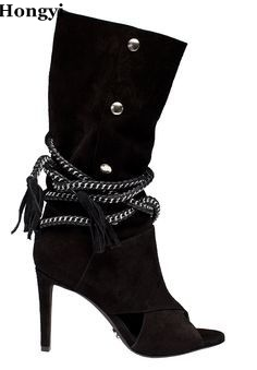 все цены на Beige black suede leather chain lace up middle boots cut-outs stuedded high heel dress shoes 2017 summer new arrival