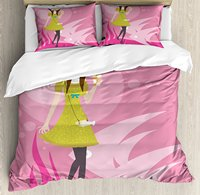 Zodiac Pisces Duvet Cover Set Teenage Girl with a Dress Holding a Cup on a Pink Toned Fish Motif Background 4 Piece Bedding Set
