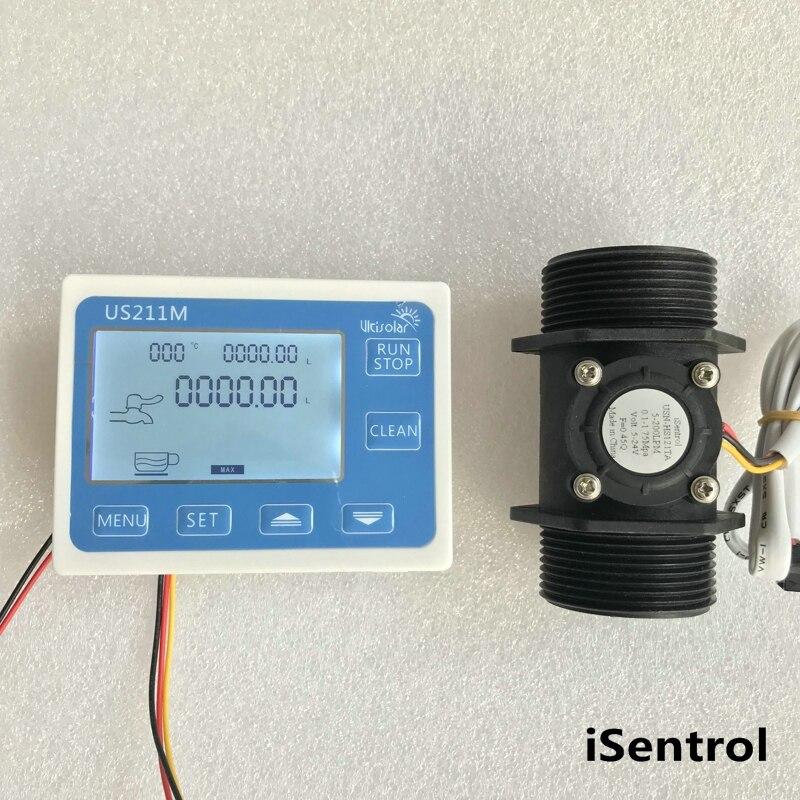 US211M Flow Meter Totalizer Flow Measurement with Nylon Water Flow Sensor USN-HS121TA G1 1/2