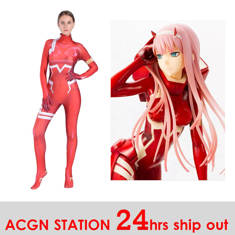 Darling in the Franxx Zero Two Cosplay Costumes Anime Bodysuits Halloween Costumes cosplay CODE:002 Costumes Red Tights Suit