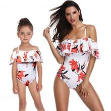 Mother Daughter Swimwear Women Bikini Bodysuit Off Shoulder Swimsuit Beachwear Family Matching Clothes Mom Free