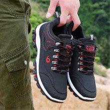 DIWEINI Men Leather Outdoor Hiking Sneakers Male Shoes Adult