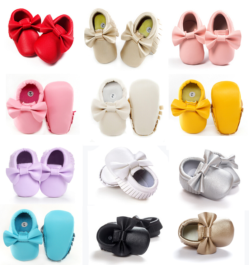 2016 New Tassels Baby Moccasin Newborn Babies Shoes Soft Bottom PU leather Prewalkers Boots