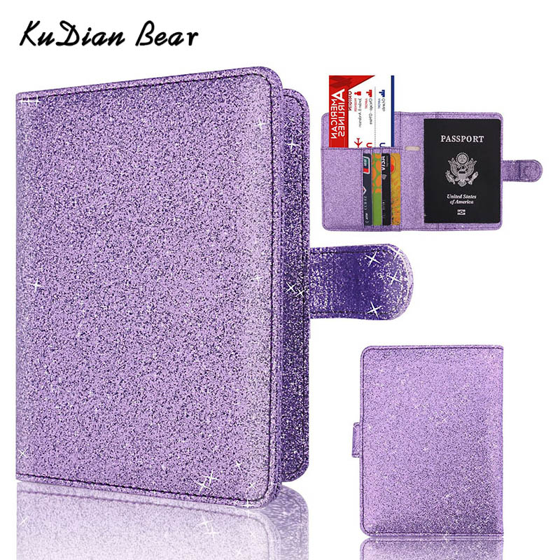 цена на KUDIAN BEAR Passport Cover Rfid Passport Holder Designer Travel Cover Case for Documents Credit Card Holder -- BIH056 PM49