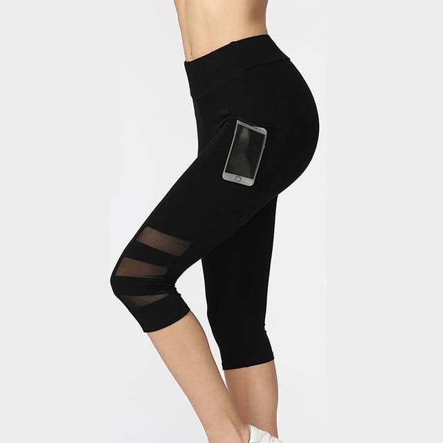 diseño de moda calidad primero estilo de moda Las mujeres Legging Ptachwork negro de la malla Capri Leggings Sexy Plus  tamaño Fitness deportivo pantalones con bolsillo la mitad de la pantorrilla  ...