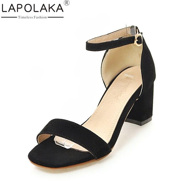 Lapolaka 2018 زائد الحجم 34-43 رباط الكاحل - أحذية المرأة