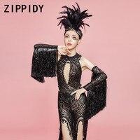 Блестящие Черный Блестки сетки костюм комплект Для женщин День рождения танцевальное шоу Топ полые брюки певица кисточкой рукава