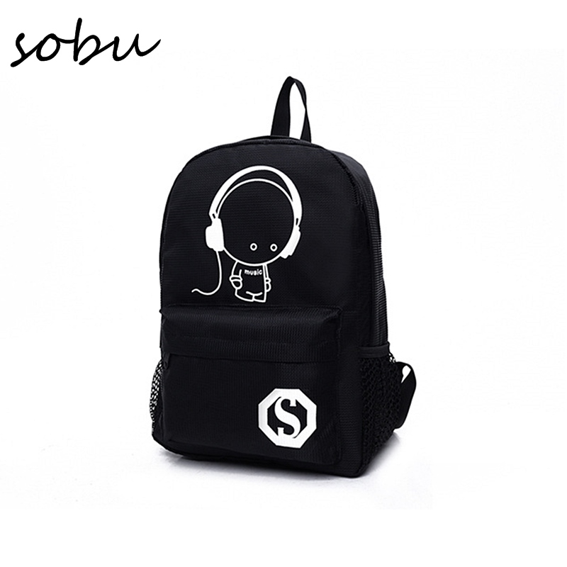 School Backpack Student Luminous Animation Children School Bags For Teenager USB Charge Computer Anti-theft Laptop Backpack V041 men backpack student school bag for teenager boys large capacity trip backpacks laptop backpack for 15 inches mochila masculina