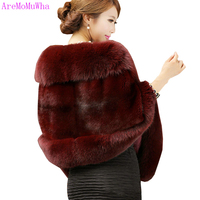 AreMoMuWha Autumn Winter Thick Faux Fur Capes Coat Women Elegant Solid Warm Wedding Ponchos Vintage Slim Windproof Coats Mh060