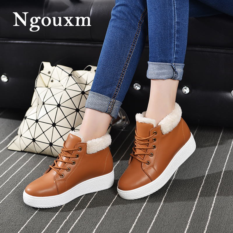 Ngouxm Women Winter Short Plush Ankle Boots 2018 Casual Warm Flats Leather Boots Female Increase in height Shoes For Women batzuzhi 2018 new handmade women ankle boots 14cm platfrom short boots for women sexy winter warm plush ankle boots for women