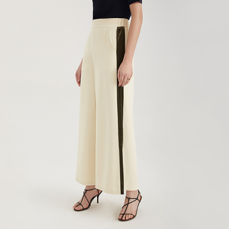 Johnature New Elastic Waist Office Lady Women   Wide     Leg     Pants   Loose High Waist Solid Color Full Length   Pants   2019 Summer