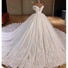 מעצב כדור שמלת חתונת שמלות 2019 כבוי כתף מתוקה פרחי תחרת Applique כלה שמלת Robe דה Mariee