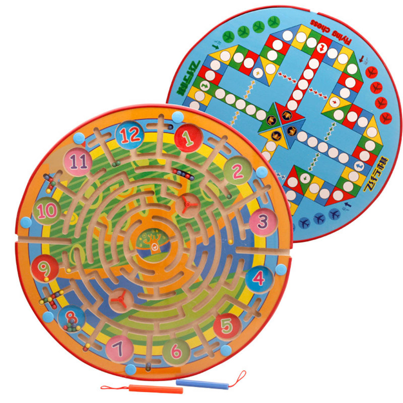1 PC Magnetic Maze Round Clock Games For Kids Early Educational Children Wooden Toys Peschool Child Birthday Gift Baby Toys Wood wooden toys for children s education wooden blocks bead maze baby early learning kids gift colorful