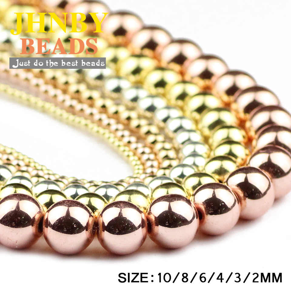 JHNBY różowe złoto, pistolet czarny, srebrny, okrągły hematyt koraliki kamień naturalny 2 ~ 10mm luźne koraliki biżuteria bransoletka i naszyjnik DIY akcesoria