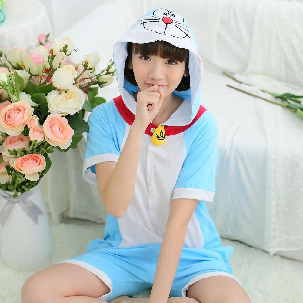 Blue Doraemon Summer Animal Cosplay Costume Onesie Short Sleeve Hoodie For Adult Women Men Halloween Holiday Party Homewear