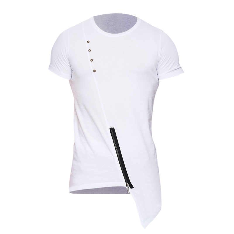 2018 Summer T Shirt Men New Fashion Irregular Hem Round Collar Short Sleeve T-shirt Man Hip Hop Tees Top Asymmetrical Tshirt