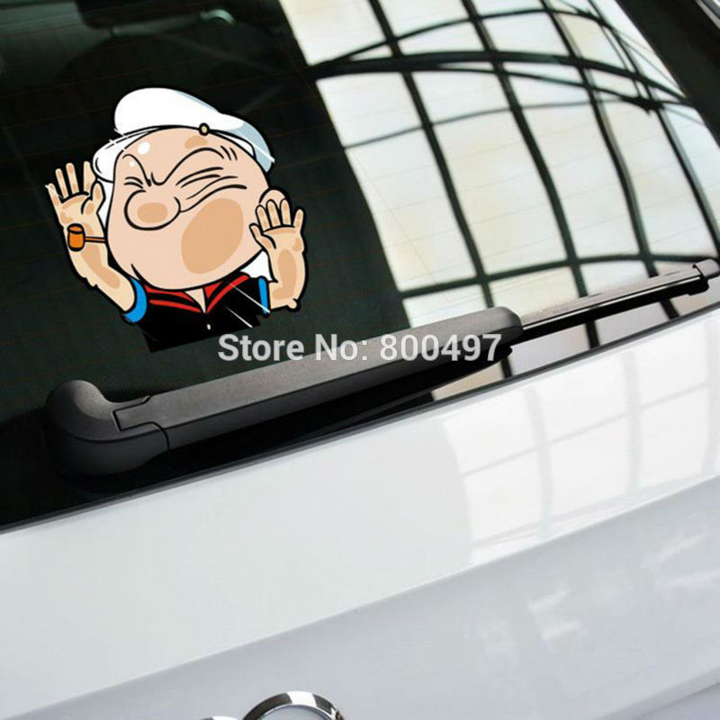 Newest Car Styling Funny Popeye Hitting the Glass Car Stickers Car Decals for Toyota Honda Chevrolet Volkswagen Tesla BMW Lada