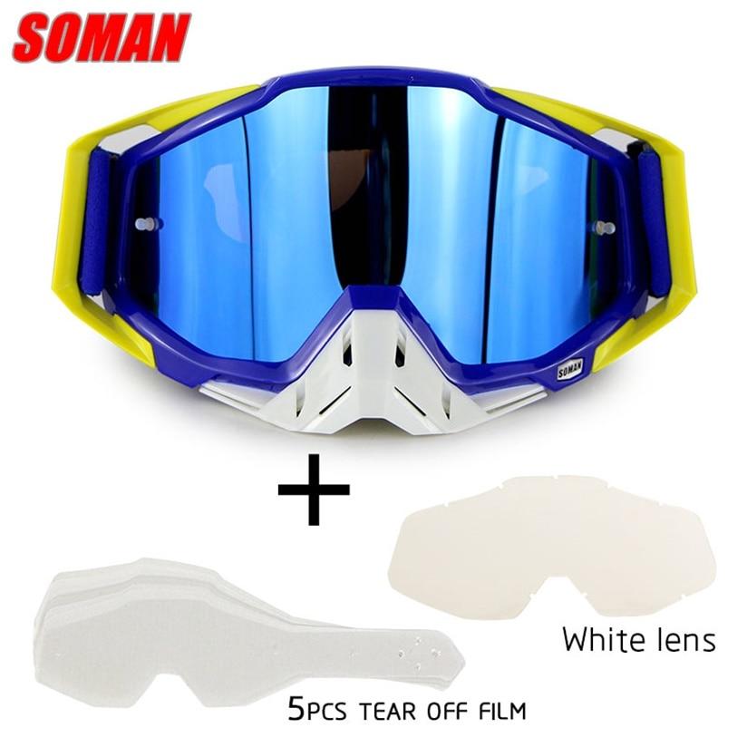 SOMAN SM11 Motocross Dirt Bike Glasses With Extra Lens Tear Films ATV Casque Gafas Off Road Gözlük Motorcycle Goggles