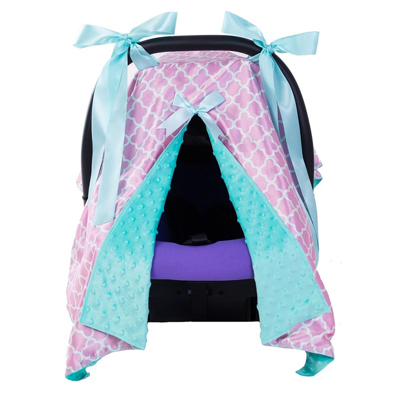 Baby Car Seat Blanket Cover Fashion Bow Newborn Baby Girls Soft Safety Car Seat Canopy Nursing Cover Multi-use Blanket Cover ...