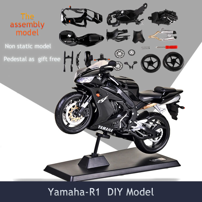 1/12 Diy Assembly Motorcycle Model Building Kits Toy Yamaha R1 with Pedestal Puzzle For boys Gift Or Collection