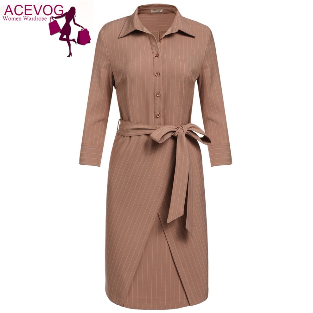 ACEVOG Autumn Winter Casual Drss Women High Waist Turn Down Collar 3/4 Sleeve Cross Front Striped Slim Shirt Dress Whit Belt ...