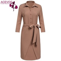 ACEVOG Autumn Winter Casual Drss Women High Waist Turn Down Collar 3 4 Sleeve Cross Front
