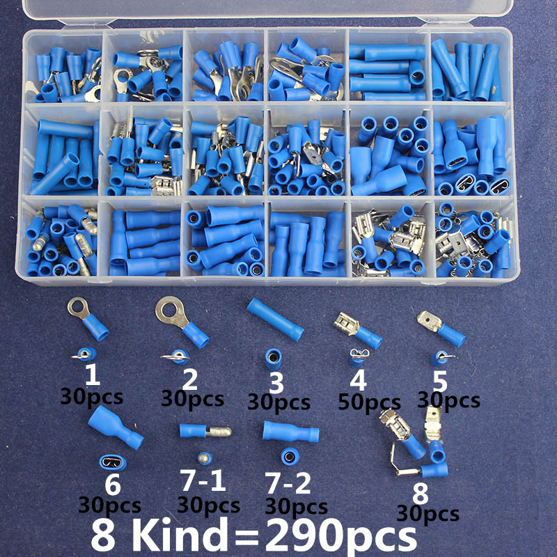 290pcs Blue Assorted Insulated Terminals Female/Male Quick Disconnect Ring typeConnectors Kit Electrical Crimp For 16-14AWG 200 pcs blue insulated crimp receptacle terminals cable lug frd2 195 awg 16 14