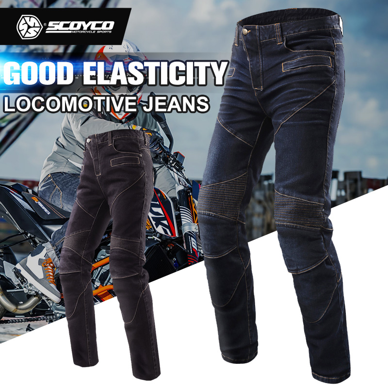 SCOYCO Motorcycle Racing Pants Jeans Motocross Protective Gear Rider Pants Trousers Leisure Pantalones Moto with CE Knee Pads scoyco mens motorcycle pants racing trousers winter summer p028