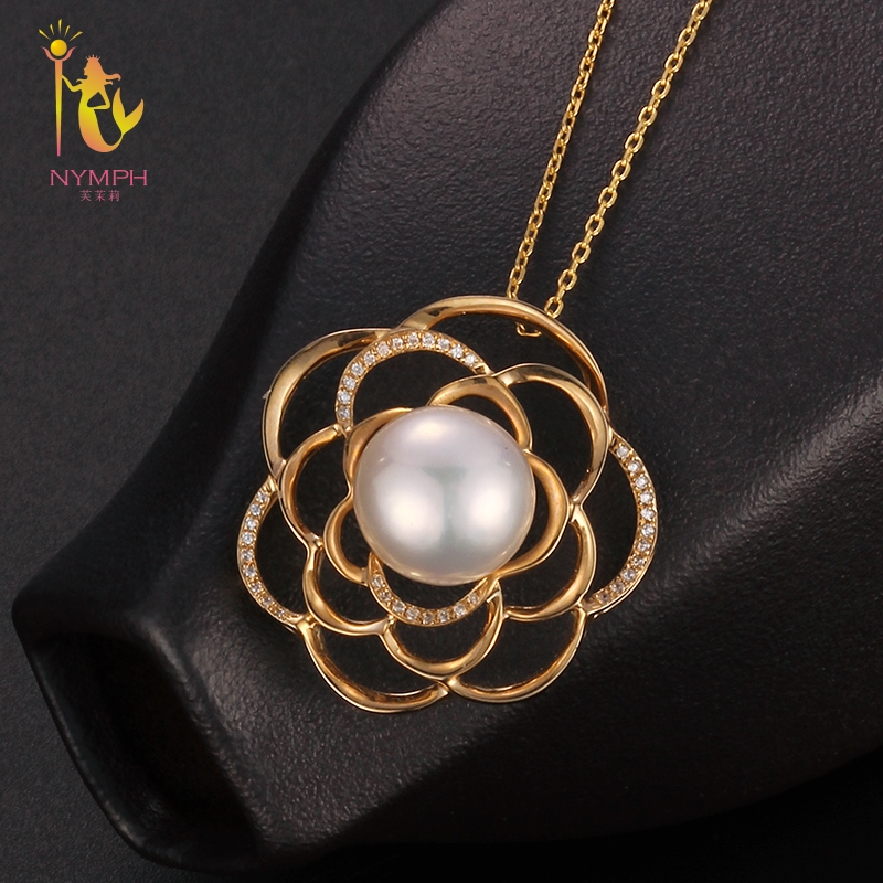 [NYMPH] Near Round Natural Stone Pendant Freshwater Pearl Necklace Pendant 9-10 mm Big Trendy Party Gift For Women Starfish D309 retro key shape conch and starfish pendant necklace for women