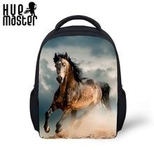12 inch schooltas Rugzak paard patten ontwerp geschikt voor jongens en meisjes gaan dagelijks naar school met twee open zakken met fles