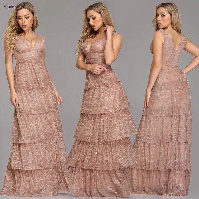 Black Prom Dress 2019 Ever Pretty EZ07766 Sexy V neck Rufflues A line Sleeveless Blush Pink