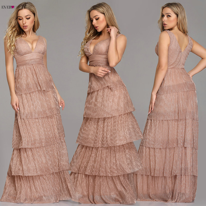 Black   Prom     Dress   2019 Ever Pretty EZ07766 Sexy V-neck Rufflues A-line Sleeveless Blush Pink Formal Party Gowns Robe De Soiree