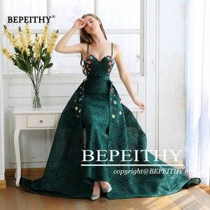 Image 5 - BEPEITHY ירוק תחרה ארוך שמלות נשף ספגטי רצועות עם פרחים 2020 vestido דה Festa שמלת ערב מסיבת שמלת מכירה לוהטת