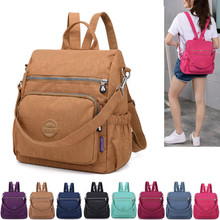 Preppy style waterproof nylon backpack for women, 10 color Womens casual travel backpack,