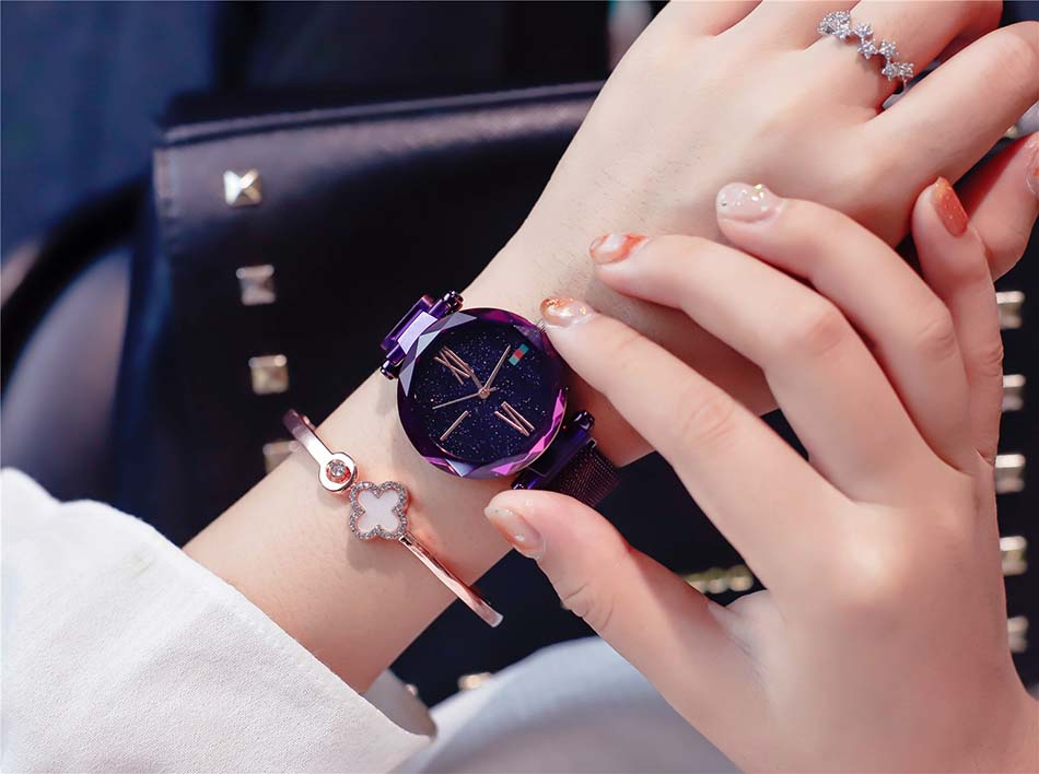 Luxury Rose Gold  Women Watches Minimalist Starry Sky Magnet Buckle Ladies Watch Fashion Casual Female Waterproof  Wristwatch (8)