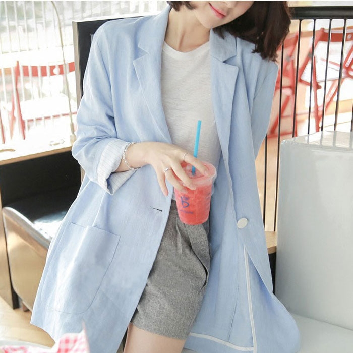 Linen Women Blazer Notched Single Button Jacket Suit 2018 New Fashion Slim Coat Pockets Female Blaser Feminino Chaquetas Mujer