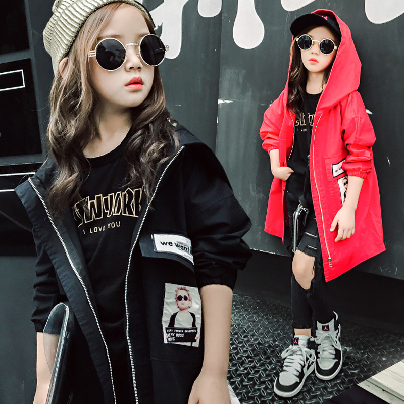 kids jackets and coats spring autumn girls coats hooded printed kids trench coat for girls long section children casual outwear