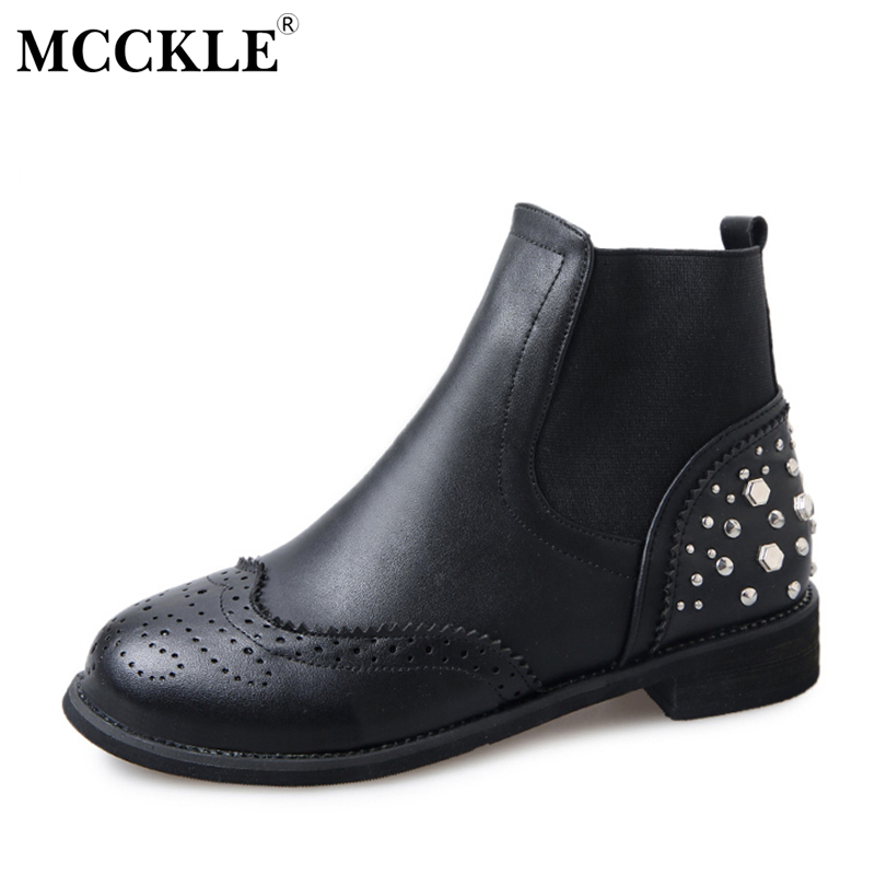 MCCKLE Female Slip On Fashion Rivets Elastic Band Ankle Boots Ladies Thick Heel Spring Autumn Style Casual Black Martin Boots mcckle women s lace up rivets buckle ankle martin boots ladies fashion thick heel platform high quality leather autumn shoes