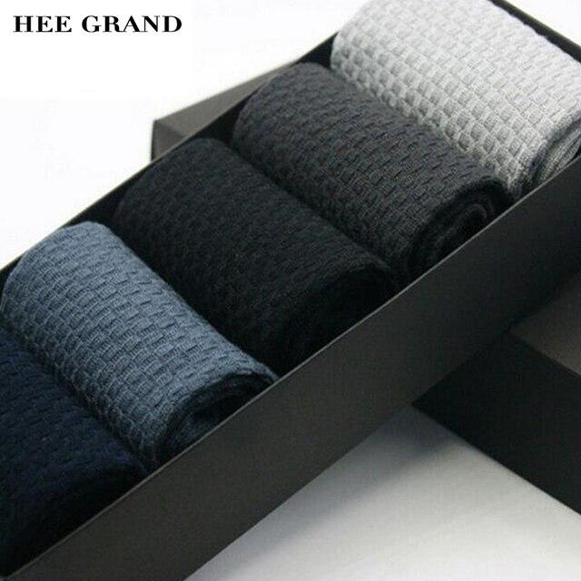 HEE GRAND 2017 Поступила Новая Мода мужская Носки мужские Бамбуковые волокна Носок мужская Повседневная Носок Удобные 5 Pairs За Комплект NWM147