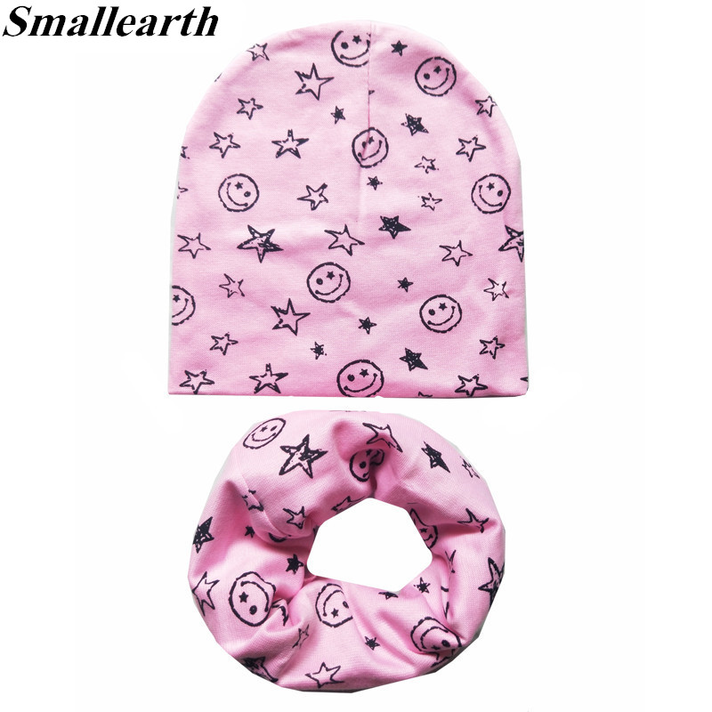 2Pcs/Set 100% Cotton Baby Hat Scarf Spring Star Print Children Caps Scarves Boys Girls Lovely Collar Set Autumn Children Hat Set