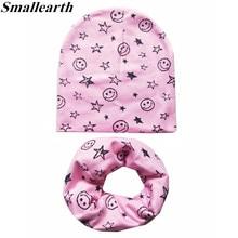 2Pcs/Set 100% Cotton Baby Hat Scarf Spring Star Print Children Caps Scarves Boys Girls Lovely Collar Set Autumn Children Hat Set