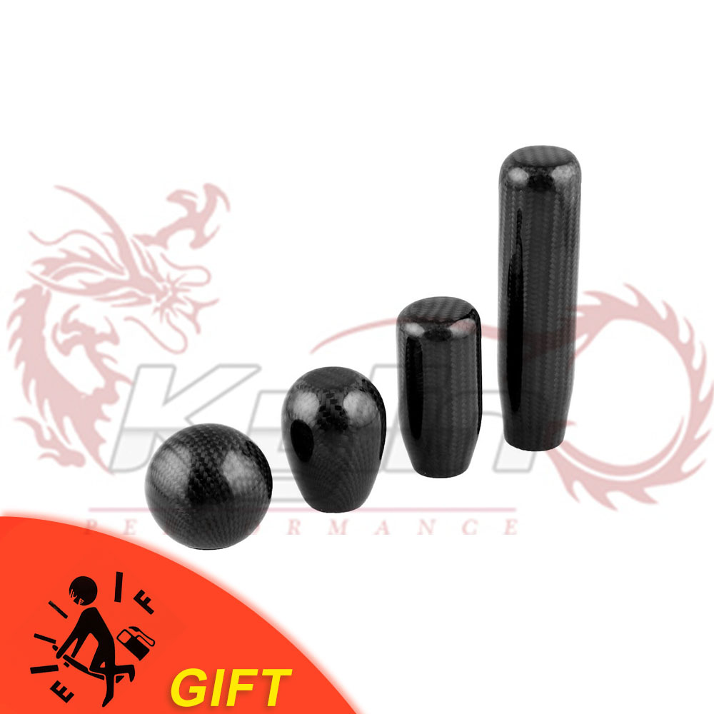 Carbon Fiber Gear Shift Lever Knob Manual Stick Shifter M10*1.5 with Adapter Black for Universal Car(China)