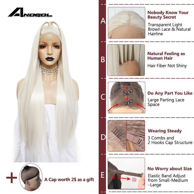 Image 2 - Anogol платиновый блонд натуральные парики 613 длинные шелковистые прямые 180% Плотность синтетические парики на кружеве для белых женщин-in Синтетические парики без сеточки from Пряди и парики для волос on AliExpress