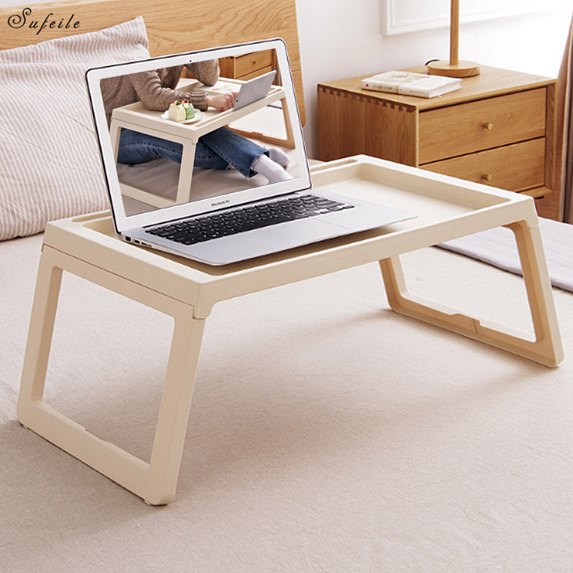 SUFEILE Folding Laptop desk Learn Computer Desk Table Storage Plastic Fold Tables Multifunction White simple dining table
